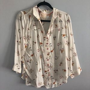 Anthropologie Graphics Button Up